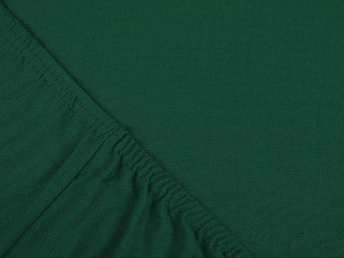 npluseins klassisches Jersey Spannbetttuch - erhältlich in 34 modernen Farben und 6 verschiedenen Größen - 100% Baumwolle, 90-100 x 200 cm, dunkelgrün - 4