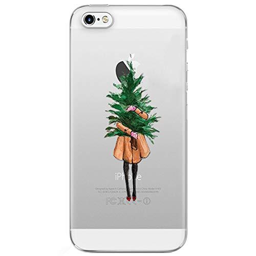 Preisvergleich Produktbild MoreChioce iPhone 6S Hülle,iPhone 6 Handyhülle, Durchsichtig Silikon Etui Christmas Weihnachten Schneeflocke Hirsch Muster TPU Gel Bumper für iPhone 6 / 6S,Mädchen Weihnachtsbaum