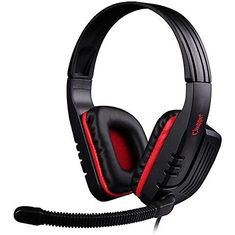 Sades Auriculares SA-711 Chopper / Auriculares de Juego Estéreo + Mando a Distancia / Bajo Profundo / Micrófono Ajustable de Alta Sensibilidad / 3.5mm / Negro + Rojo / iCHOOSE