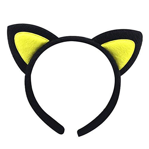 Cosanter Tela de Felpa Lindo Orejas de Gato Diadema Niñas Cabeza Hebilla Chica Tocado Accesorios de Decoración del Partido (Negro+Amarillo)