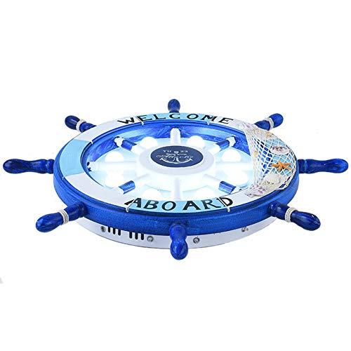 Mittelmeerdeckenlampenleuchterkarikaturkinderzimmerlampe Jungenschlafzimmerlampenmädchenprinzessinzimmerlampe kreative Schiffssteuerung hellblaues Schwarzweiss-Rosa-blue-Two-tone