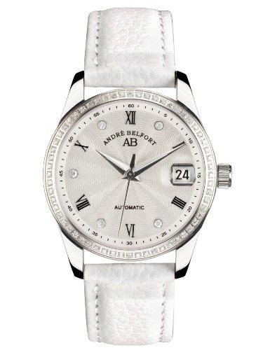 André Belfort 410158 - Orologio da polso da donna, cinturino in pelle colore bianco