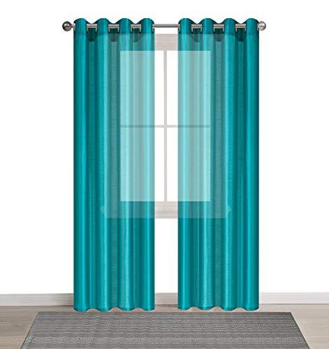 DEZENE 2er Set Faux Seide Halb-transparent Gardine mit Ösen Einfarbige Voile Tüll Durchsichtig Vorhänge Schals,Türkis,140 x 260 CM