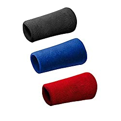 Black, Blue And Red Sports All Weather And Washable Stuff Long Wrist Band - Pack of 3