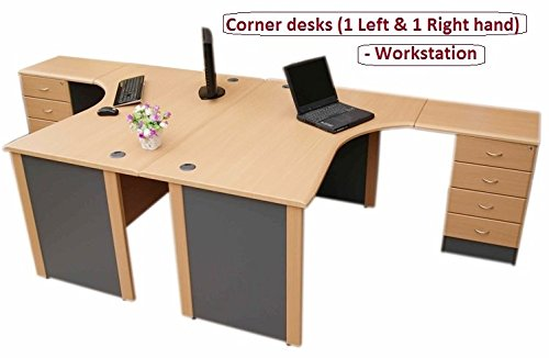 Best Price Workstation desks -2 x Corner desk (1 Left & 1 Right hand) with 4 drawer pedestal – (Beech / dark grey) Special