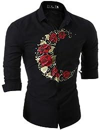 WanYang Camisas Hombre De Marca Manga Larga De Moda Flores Casual Delgado Estilo Camisas De Vestido