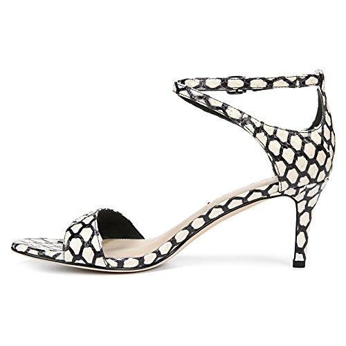 Via Spiga Leesa Damen Animal Print Leder Sandale BLKWHT