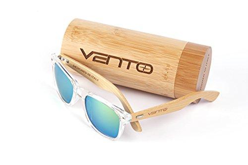 Vento Eyewear® Modelo Chinook Ice&Gold - Gafas de Sol de Madera de bambú, diseñadas en Italia con certificados CE y protección UV400, Marco Transparente Lentes Dorado