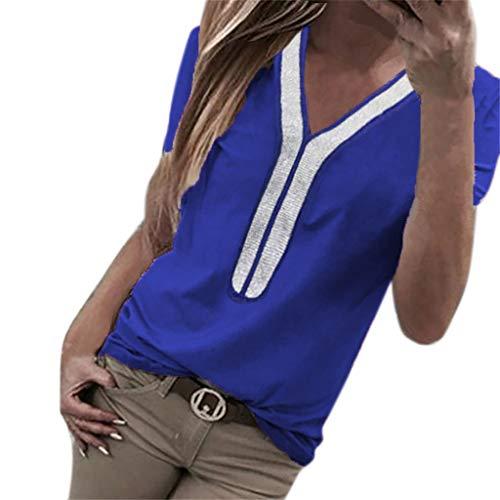 Kviklo Damen Plus Size T-Shirt Pailletten Kurzarm V-Ausschnitt Tops Kostüm Bluse Oversize(2XL(42),Blau)