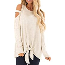 Fineser Women Long Sleeves Casual Loose Hollowed Out Shoulder Pure Color Strapless Bandage Tops Blouse Shirts Sweatshirt