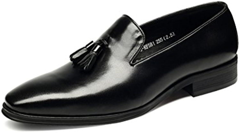 LYZGF Männer Gentleman Business Casual Mode Quasten Faul Lederschuhe