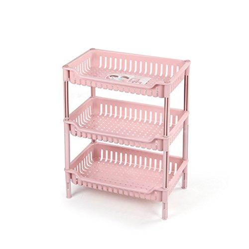 WSGZH Aufbewahrungsregale Pink Collation Frame Große Offene Quadratische Korb Kunststoff Küchenstacks Verdicken Gemüse Regale Abtropfbrett Badezimmer (3/4 Tier) (Color : 4, Size : Tier)