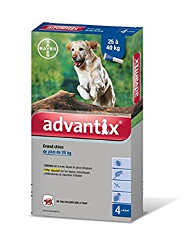 Advantix Grand Chien 25 à 40 kg- 4 pipettes antiparasitaires 4 ml