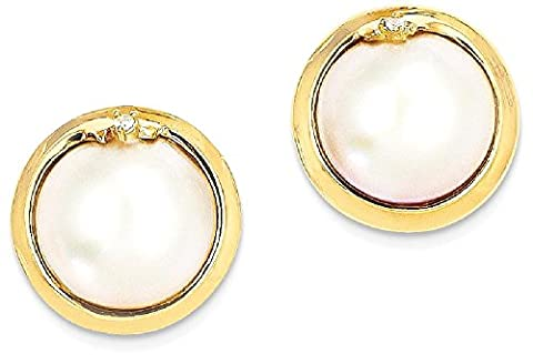 IceCarats 14k Yellow Gold 10 12mm Cultured Mabe Pearl Diamond Post Stud Ball Button Earrings