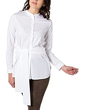 eterna Damen Bluse Modern Fit Langarm Weiß Uni mit Steh-Kragen