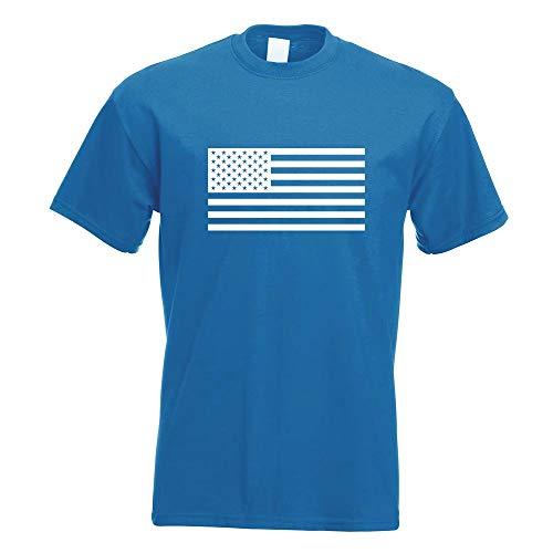 Kiwistar USA Flagge Vereinigte Staaten T-Shirt Motiv Bedruckt Funshirt Design Print (Stripes-flagge And Stars)
