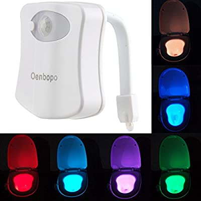 Colorful Motion Sensor Toilet Nightlight 8 Color Changes £¬Oenbopo Home Toliet Bathroom Human Body Auto Motion Activated Sensor Seat Light Night Lamp 8-Color Changes(Only Activates in Darkness)