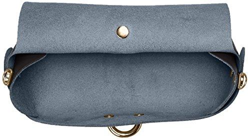 CTM Schulter der Frau Clutch, kleine Tasche mit Schulterriemen , echtem Leder in Italien - 18x11x9 Cm Schwarz (Nero)