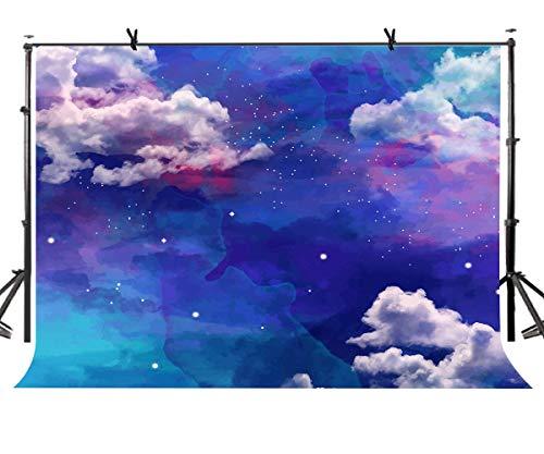 EdCott 7x5ft Wasserfarbe Blauer Himmel und weiße Wolken Hintergrund Willkommen Baby Dusche Baby Kleinkind Kind Neugeborenes Kleinkind Mädchen Junge Digital Portrait Wallpaper - Inkjet-speicher