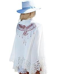 Mesdames imprimé aigle Crochet arrière Boho Plage Cover Up Robe de Plage robe tunique Taille M 8–12