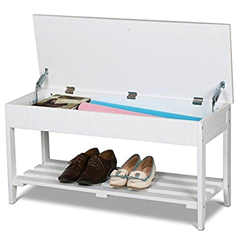 Popamazing White Wood Entryway Shoe Storage Bench Rack Seat Trunk