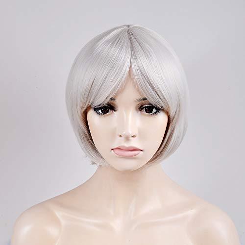 Trend jewelryPelucas sintéticas Recto Estilo Corte Bob Sin Tapa Peluca Blanco Plata Pelo sintético Mujer Blanco Peluca Corta Peluca Natural:Plata