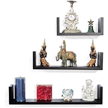Forzza Ronald Wall Shelf, Set of 3 (Matt Finish, Black)