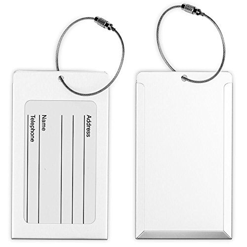 2x Metall Gepäck Tags, ID Kennung Namen Tag Adress-Etiketten Reisen Koffer Gepäck, Label Visitenkartenhalter