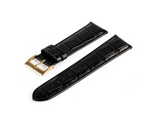 Uhrenarmband Schwarz 12 mm Uhrband Uhrenbänder Uhren Band Gold Schließe Krokoprägung