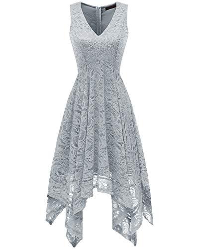 bridesmay Damen Sexy übergröße Spitzenkleid unregelmäßig Cocktailkleid Zipfel Kleid Sommerkleider Grey S (Taschentuch Kleid Chiffon)