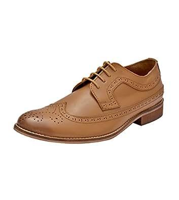 Hirel's Men Tan Leather Brogue Shoes 10