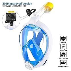 ORSEN Tauchmaske Vollgesichtsmaske für Erwachsene & Kinder, Faltbare Schnorchelmaske Vollmaske mit 180° Sicht und Action Kamera-Halterung, Müheloses Atmen, Kein Beschlagen (weiß+blau 2.0, L-XL)