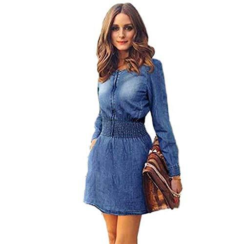 Damen Elegant Jeanskleid, Freizeitkleider für Damen,VRTYOC Sommerkleid Lange Ärmel Rundhalsausschnitt Lässiges Jeanskleid Taille Mit Taschenkleid Kurzer Rock -