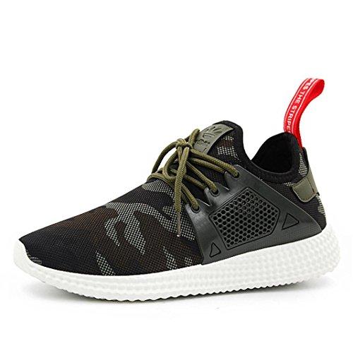 Herren Laufschuhe, FNKDOR Camouflage Sport Schuhe Fitnessschuhe Sneakers Running (42, Grün)