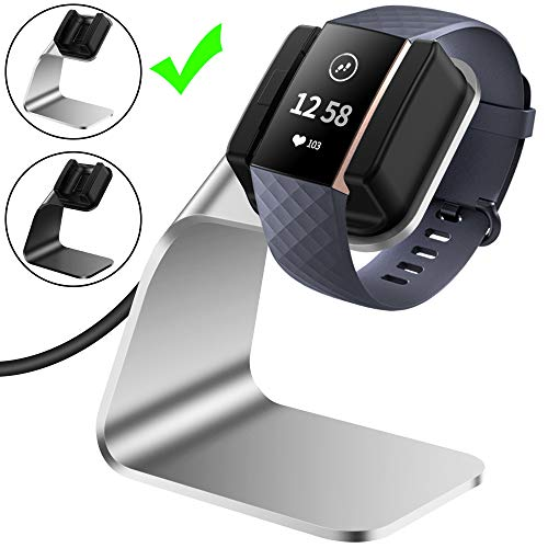 CAVN Compatible with Fitbit Charge 3 Charger Dock, (150cm/4.9ft) Replacement Premium Aluminum Charger Dock USB Charging Cable Adapter Portable Charging Stand for Fitbit Charge 3 /Charge 3 SE, Silver