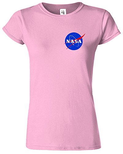 Nasa National Space Packet Pocket America Dames T Top T-Shirt Rose Clair
