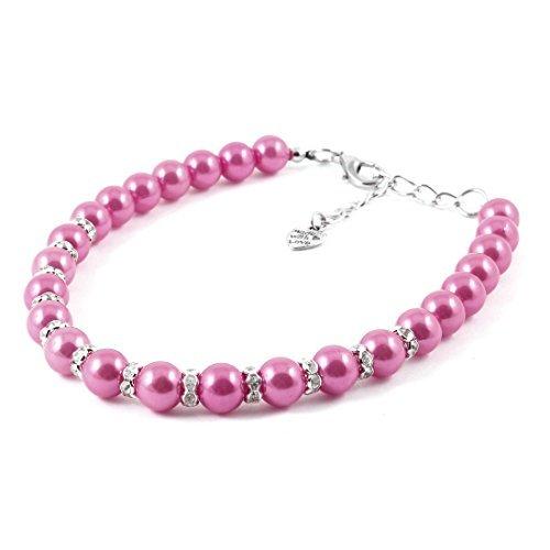 DealMux Haustier Hund Katze Yorkie Faux Imitation Perle Linked-Kragen-Halskette, Medium, Rosa (Yorkie-perle)