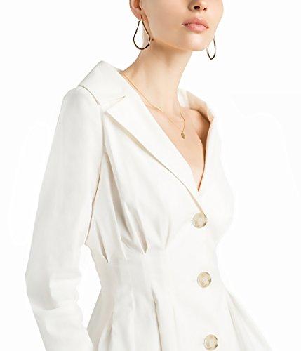 Donna Blazer Elegante Bussiness Jacket Manica Lunga 3 Button Cappotto Del Rivestimento Plissettati Slim Formale Giacca V Scollo Buona Qualitá Giubbotto Moda Giovane Workwear Outwear Da Cerimonia Bianco
