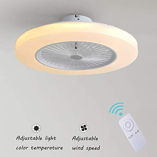 Ventilador de Techo con Lámpara, 36W Creativo Ventilador Invisible LED Lámpara de...