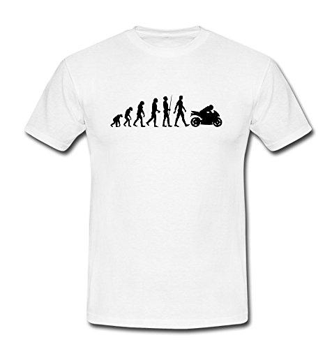 T-Shirt EVOLUTION Biker Motorrad Moped weiß/schwarz Gr. S-2XL Weiß