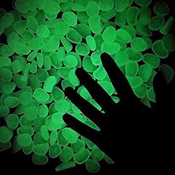GEOPONICS BAKHUK 100pcs Garten Dekoration Crafts Glow In The Dark Luminous Kiesel Steinen für Hochzeit Romantischen Festliche Es Supplies grün