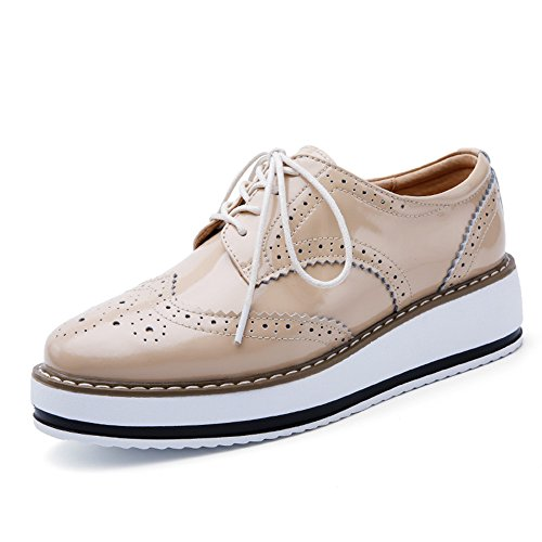 Vinstoken Womens Shoes Brogue Lace up Flats Shoe Wedge Platform 4.5 cm Black White Red Apricot 35