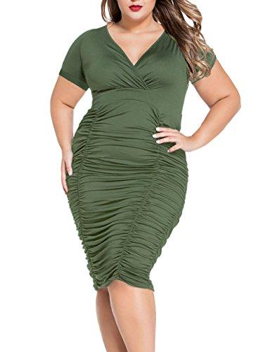 LETSDO Frauen Pleated Wrap Curvy Plus Size Mit Rüschen Besetzten Midi-Kleid (L, Armee-Grün) (Sleeve Short Cover)
