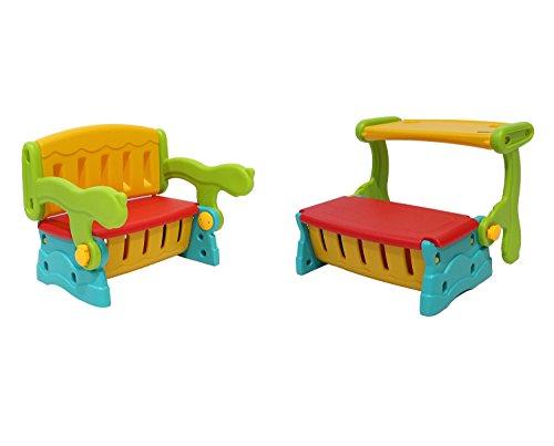 Infantasie 'Switch' 2in1 Kinder Sitzbank mit Rückenlehne oder Klapptisch und geheimer Truhe, einfach die Sitzbank mit Lehne in eine Sitzbanktruhe mit Tisch umklappen, flexible Indoor...