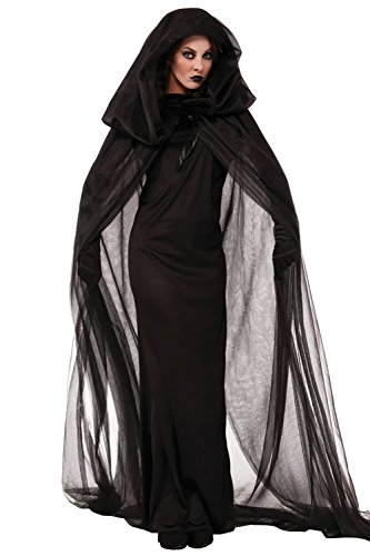 Elegante nero full-length Abito Strega Halloween co-splay Black Medium