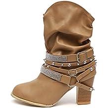 e1dbaaaa Botas Mujer Tacon Alto Cuero Botines Invierno Pelaje Tobillo Hebilla  Zapatos de Trabajo Señoras Altos Talones