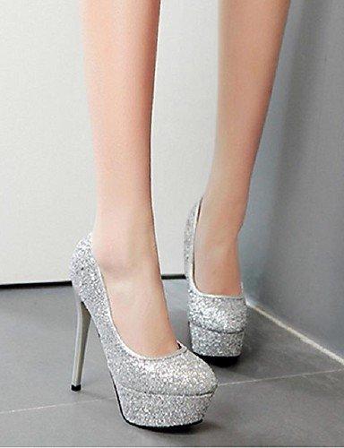 WSS 2016 Chaussures Femme-Habillé / Décontracté-Rose / Blanc / Argent / Corail-Talon Aiguille-Talons / Bout Arrondi-Talons-Paillette / Polyuréthane white-us6.5-7 / eu37 / uk4.5-5 / cn37