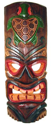 Tallado-Tiki-mscara-con-pintado-Honu-tortuga--grande
