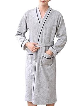 Pijama para hombre Albornoz Algodón de manga larga cálido Camisón/Primavera y otoño cómodo para el hogar