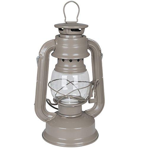 19cm Sturmlaterne geeignet für Teelichter in taupe mit Aufhängung oder als Tischlaterne nutzbar • Campinglampe Windlicht Sturmlampe Laterne Lampe Garten Beleuchtung